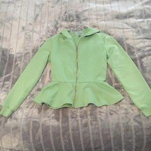 Pale Green Peplum Zip Up Hoodie